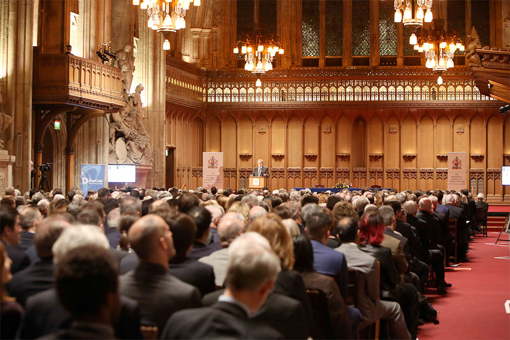 IV CEO and founder Nathan Myhrvold delivers his Tacitus Lecture at the City of London's Guildhall on February 22, 2018. Photograph copyright Jake Sugden.